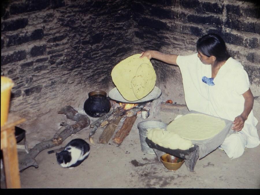 Magda torteando y un gatito.JPG